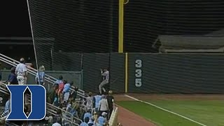 Duke OF Jimmy Herron Runs Through Wall to Make Catch