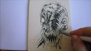 Drawing Split Demon Face Concept Plus Afternoon Park Break