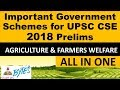 AGRICULTURE & FARMERS IMPORTANT GOVERNMENT SCHEMES FOR UPSC PRELIMS 2018 IN HINDI | 2018 YOJNA IAS