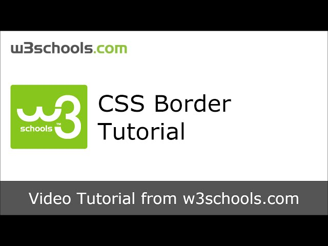 W3Schools CSS Border Tutorial