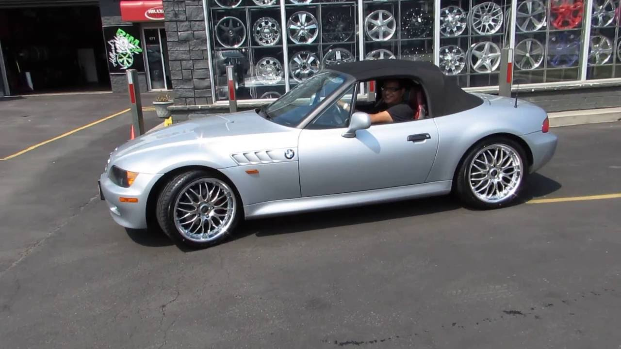1997 bmw z3 riding on custom 18 inch hyper silver rims tires [ 1280 x 720 Pixel ]