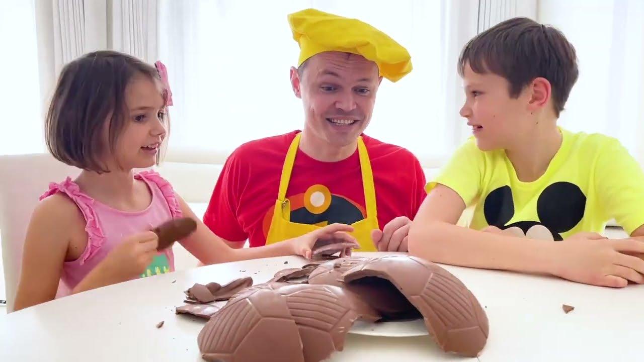 Катя хочет шоколадный мяч от папы
