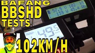 bafang bbshd 1000w mid drive unloaded wheel test 102km h electric bike 48v bbs02 8fun motor