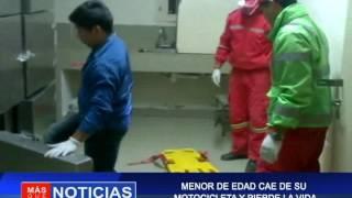 MENOR DE EDAD CAE DE SU MOTOCICLETA  Y PIERDE LA VIDA