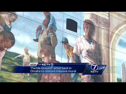 'Fertile Ground' artist back in Omaha to restore massive mural