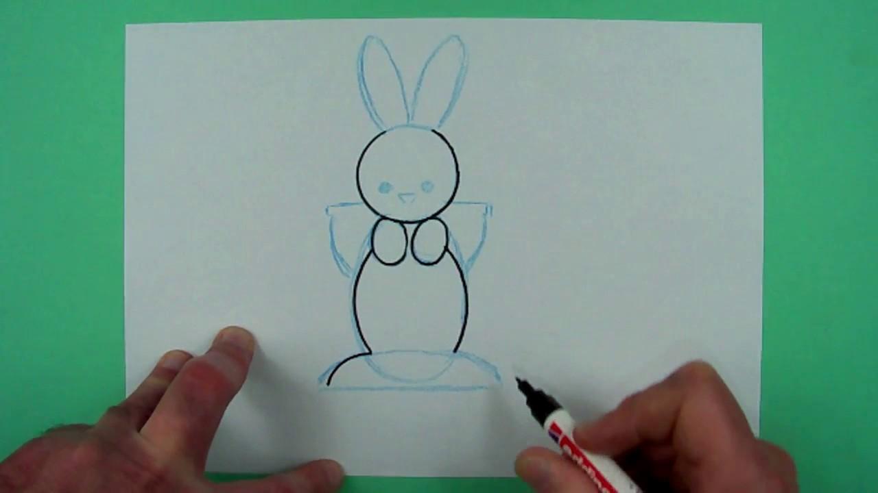 Wie Malt Man Einen Super Einfachen Osterhasen Zeichnen Fur Kinder Youtube