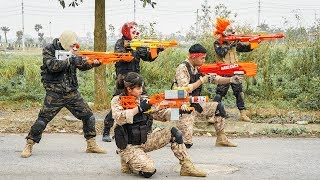 MASK Nerf War : Two Warrior Alpha Nerf Guns Fight Criminal Group Mask Rescue The Carrier