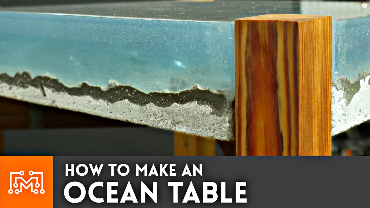 How to make an ocean table concrete and epoxy resin for How to make designs in concrete