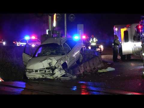 High-speed car crash into rail crossing Lougheed Hwy & Pitt River Rd. Coquitlam City (4K)