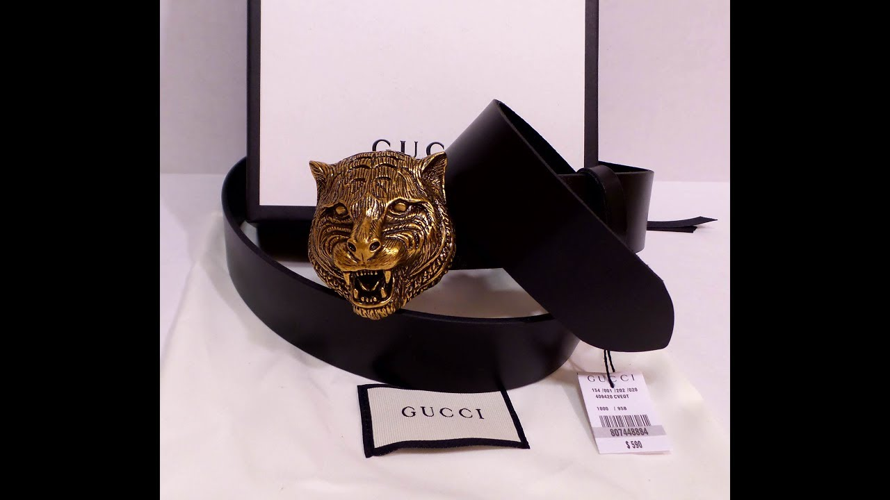 fe9633f50a6 Gucci Feline Gold Buckle Belt Unboxing Authentic Review New With Tags