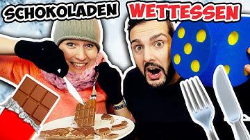 SCHOKOLADEN WETTESSEN CHALLENGE Party-Spiel mit Kathi & Kaan Wer packt Geschenk aus & isst Schoko?