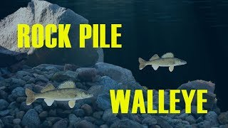 Ice Fishing Rock Pile WALLEYE on Devils Lake