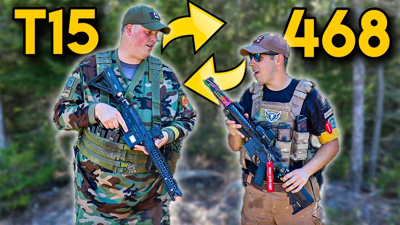 T15 vs 468 - We Traded our Magfed Paintball Guns - Paintball Wars