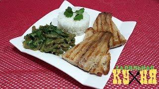 Диетический обед и ужин. Рыба на сковороде-гриле с овощами и рисом. Халяльная Кухня!