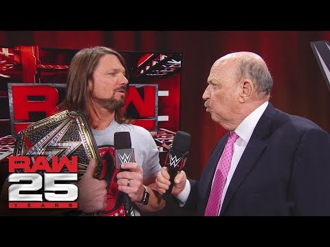 """Mean"" Gene Okerlund interviews AJ Styles: Raw 25, Jan. 22, 2018"
