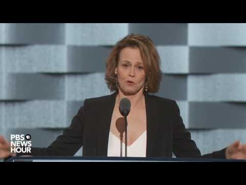 Actress Sigourney Weaver introduces James Cameron film on the perils of climate change at DNC 2016