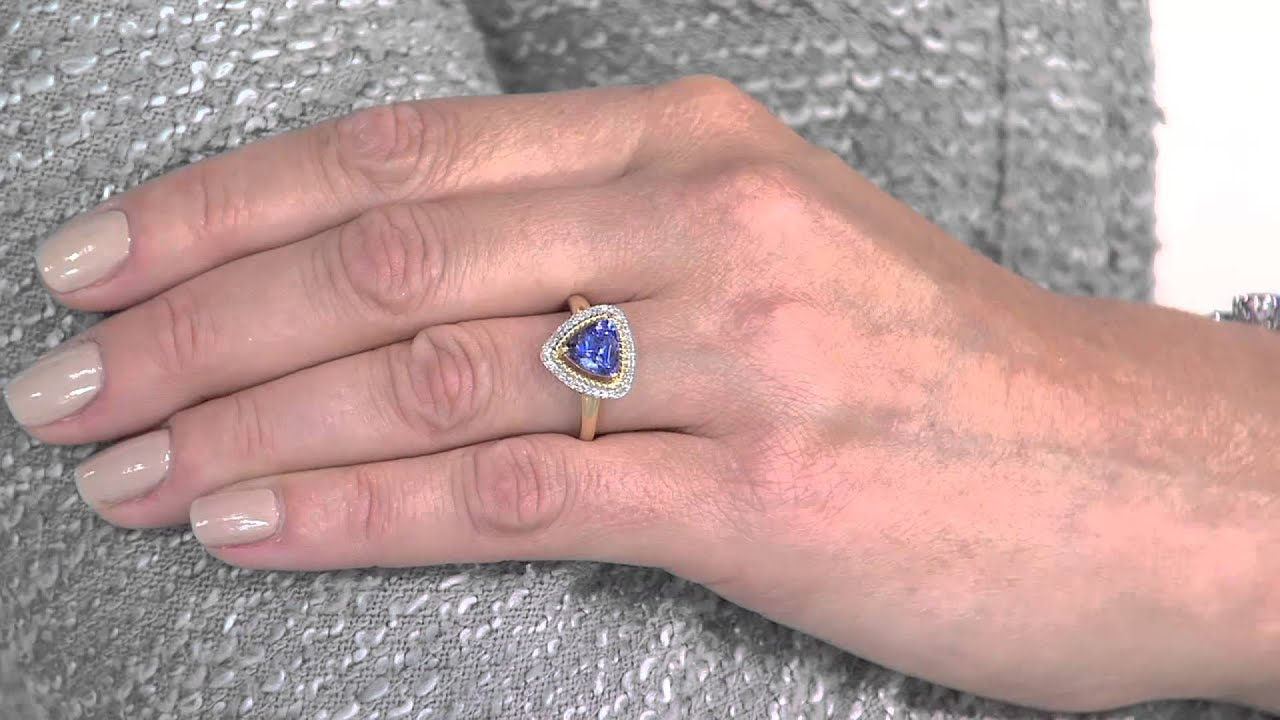 trillion cut room rose ring tanzanite gold property l beaded style grams
