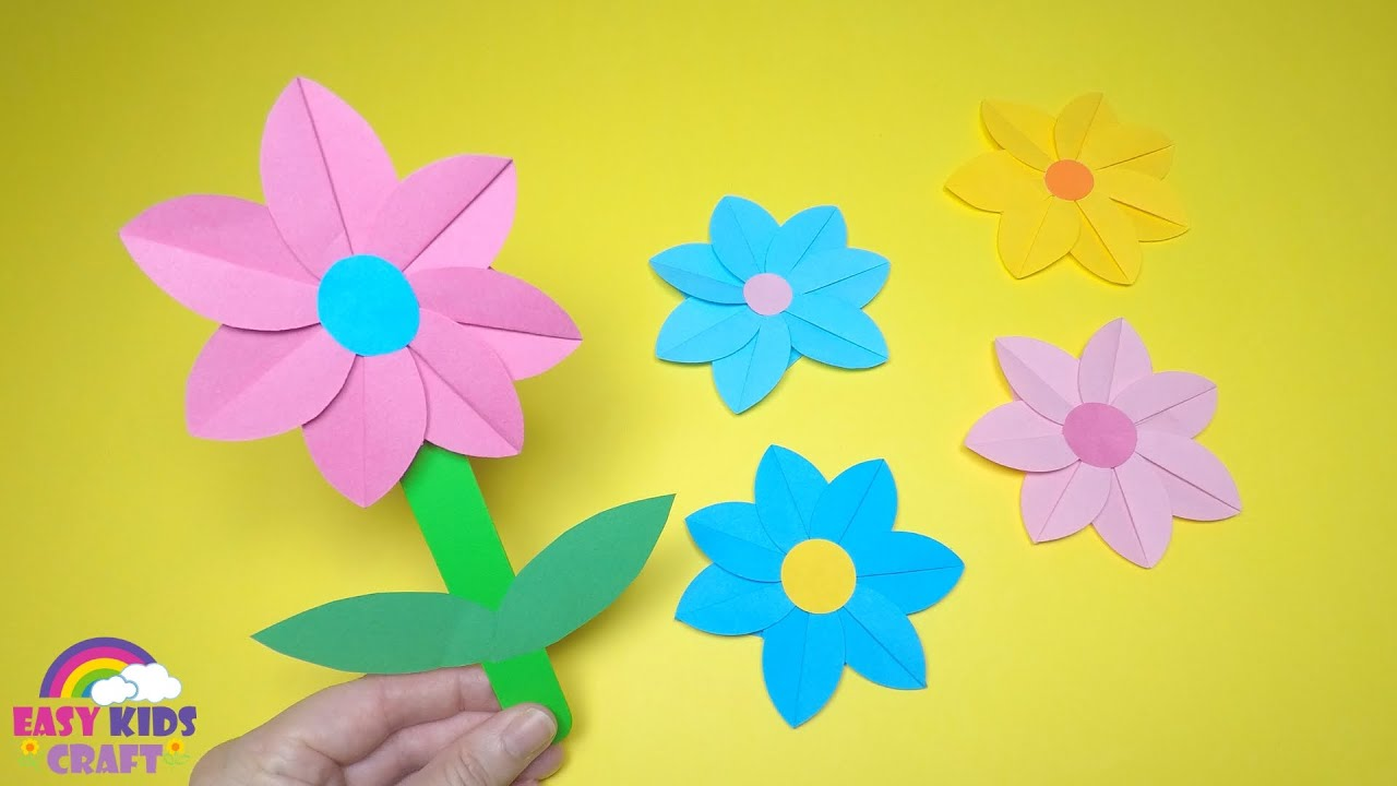 Spring Crafts For Kids Paper Flower Craft Youtube