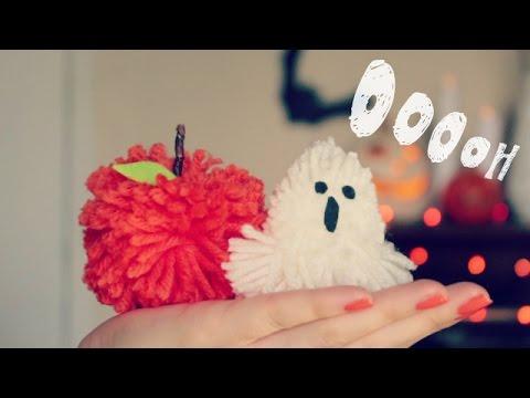 diy ghost and pumpkin pom poms 12 days of halloween - Halloween Pom Poms