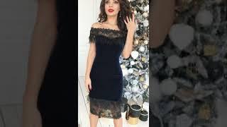P 0937 Платье коктейльное из бархата, со вставками из перьев video