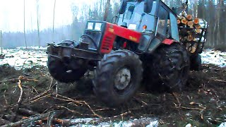Belarus Mtz 1025 in wet forest, difficult conditions