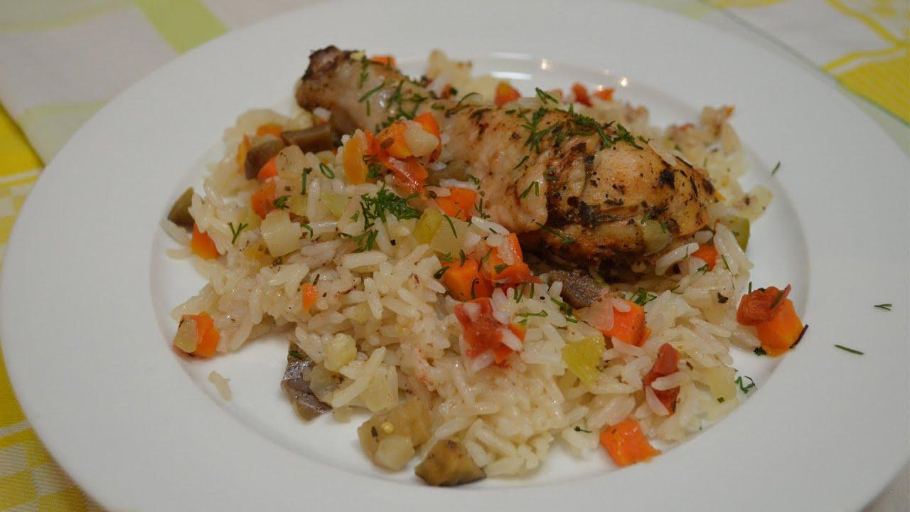 куриные ножки в духовке с рисом и овощами