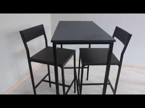 Set tavolo bar con 2 sgabelli neri mod. lignano di yelloo.it