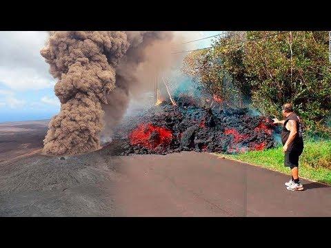 Drone pilot surveys Leilani Estates Volcanic Eruptions HAWAII - Lava entering the ocean