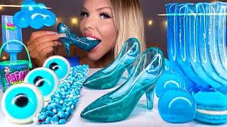 ASMR *BLUE FOOD* EDIBLE CINDERELLA GLASS SLIPPER, CLOUD JELLY, NERD ROPE, JELLY NOODLES MUKBANG 먹방