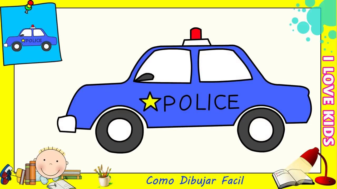 Como Dibujar Un Carro De Policia Facil Paso A Paso Para Niños Y