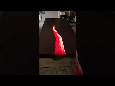 Kasparo Red amazing wooden table with epoxy resin and LED ANIMATION