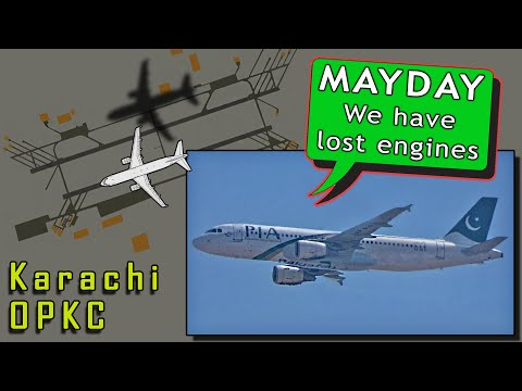 PIA Pakistan A320 suffers fatal accident landing at Karachi   Engine Failure