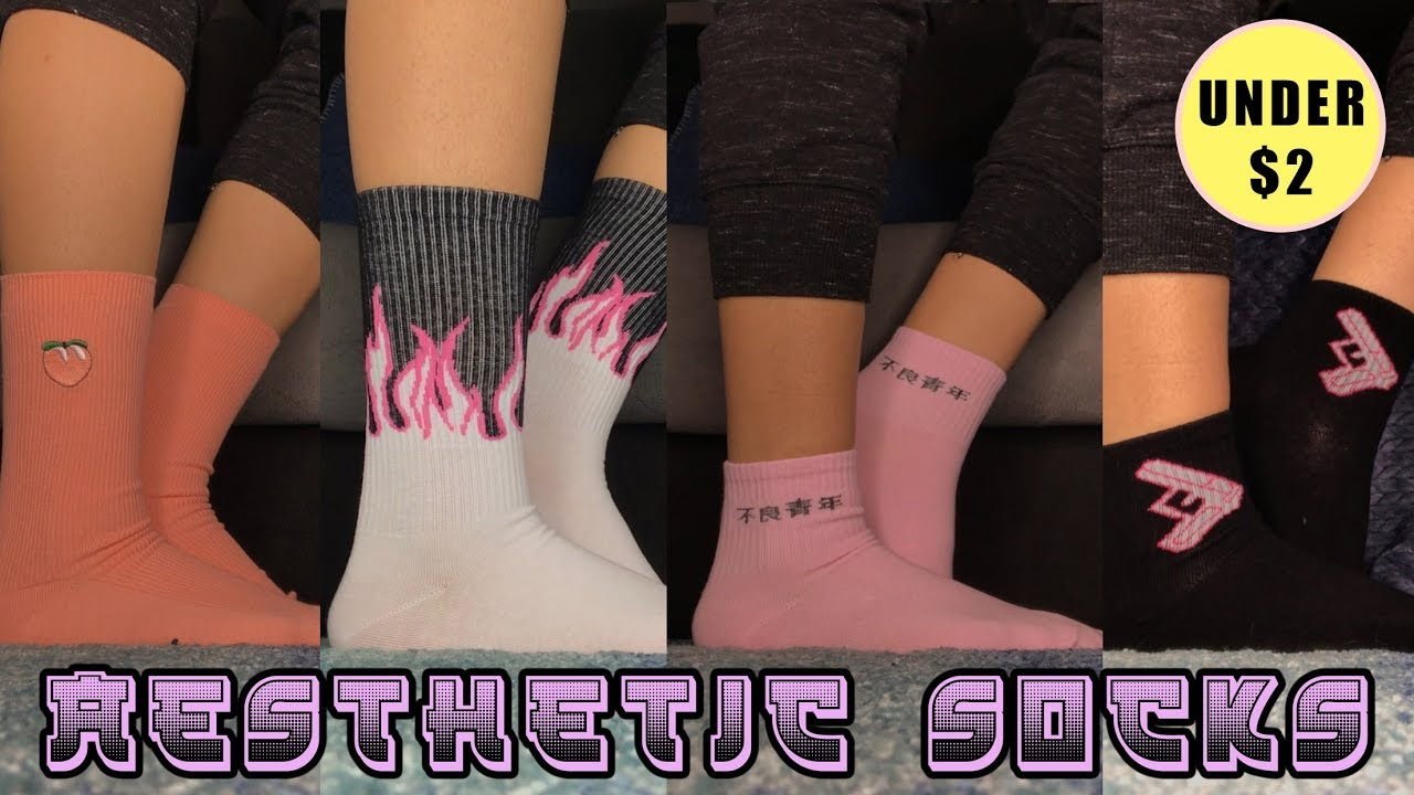 CHEAP AESTHETIC HARAJUKU SOCKS FROM ALIEXPRESS! | UNDER $2 (TRY-ON + UNBOXING REVIEW)