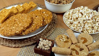 Pan shot of different Lohri items consumed during the Punjabi's Lohri festival in India