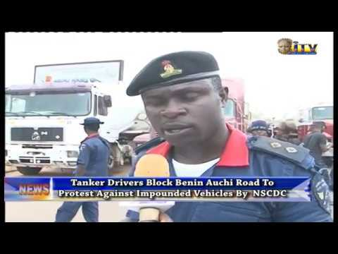 Tanker Drivers Block Benin Auchi Road To Protest Against Impounded Vehicles By NSCDC