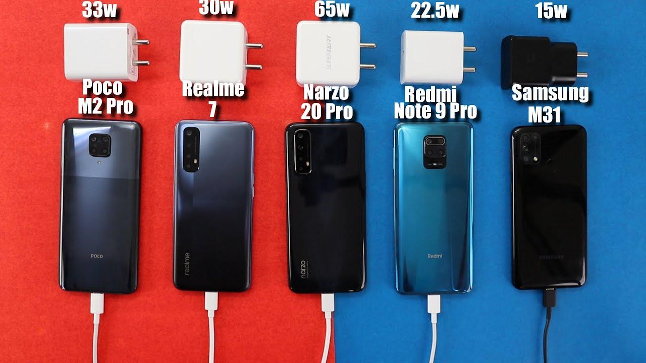 Realme Narzo 20 Pro(65w) Vs Realme 7(30w) Vs Poco M2 Pro(33w) Note 9 Pro/M31 Battery Charging Test
