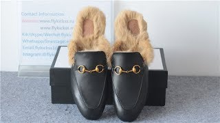 """Best Quality """"Gucci Princetown Fur Loafer"""" Leather Slipper Slide HD Review"""