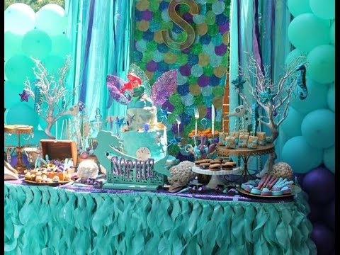 Fiesta de sirenas mermaid mesa de dulce party sirenita for Decoracion para mesa dulce