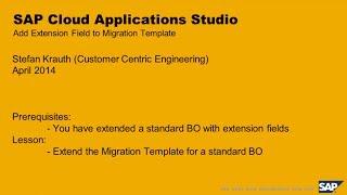 Cloud Application Studio: Extend Migration Template