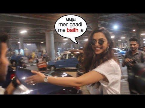 See Deepika Padukone Make FUN Of Cameraman Standing In Front Of Her Car At Airport