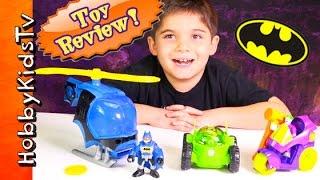Imaginext Batman Helicopter + Green Lantern Toy Review on HobbyKidsTV
