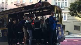 Powell-Hyde Cable Car 16 @ Powell St & Bush St San Francisco California (Slow Motion)