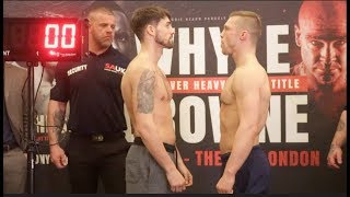 JAMIE COX RETURNS!  JAMIE COX v HARY MATHEWS - OFFICIAL WEIGH IN & HEAD TO HEAD / WHYTE v BROWNE