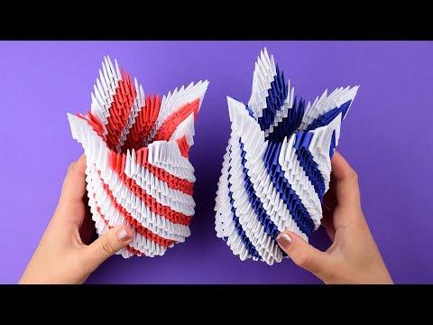 Как сделать вазу из бумаги в технике модульное оригами. Пошаговая сборка, мастер класс.