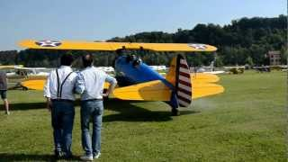 Boeing Stearman e Beech 17 Staggerwing accensione motori - engine start - Motor einschalten