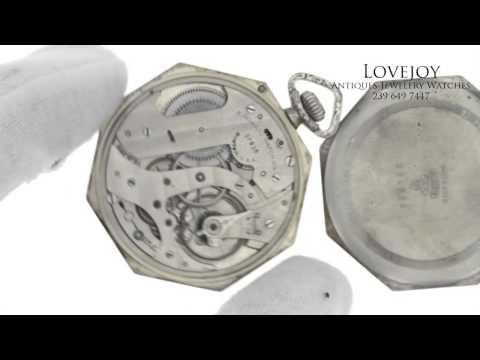 Howard Pocket Watch Solid 14k White Gold 17 Jewel Size 8 Antique Octagonal Case