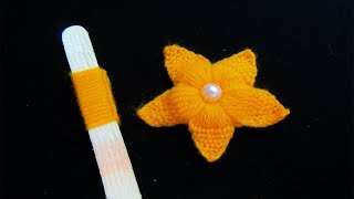 Hand Embroidery Amazing Trick, Easy Flower Embroidery Trick with Ice cream Stick, Woolen Flower