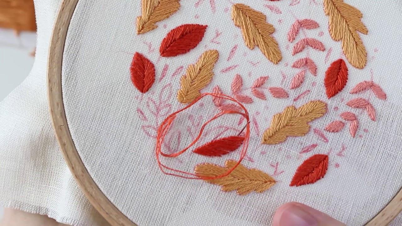 broder les feuilles d 39 automne pass plat point de bouclette point lanc point de n ud. Black Bedroom Furniture Sets. Home Design Ideas