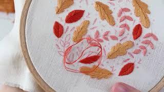 Broder les feuilles d'automne - passé plat, point de bouclette, point lancé & point de nœud