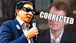 Andrew Yang CORRECTS Journalist on the FALSE 'ME Generation'